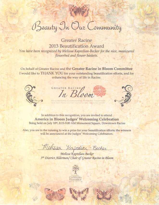 Nelson Bros 2013 beautification award